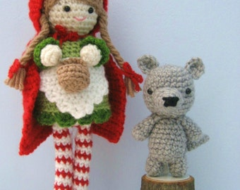 Amigurumi Crochet Little Red Riding Hood and Wolf Pattern Digital Download