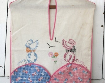 vintage Feedsack Laundry Bag - lingerie wash tote - Southern Belle embroidery clothespin