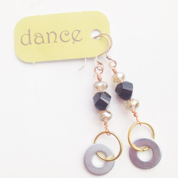 Industrial Chic - Metal and Beaded Dangle Earrings