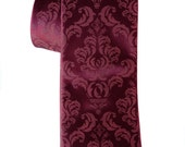 Damask necktie. Marsala Spiced Wine silk tie, raspberry print. Silkscreened men's wedding tie. 100% silk, choose standard or narrow width.