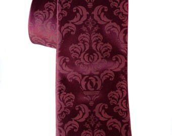 Damask necktie. Marsala Spiced Wine silk tie, raspberry print. Silkscreened men's wedding tie. 100% silk, choose standard or narrow width.
