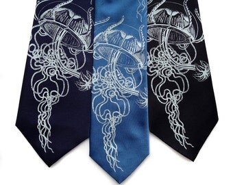 Jellyfish necktie. Screeprinted men's tie, 100% silk. Your choice of color and width. Vintage ocean illustration.