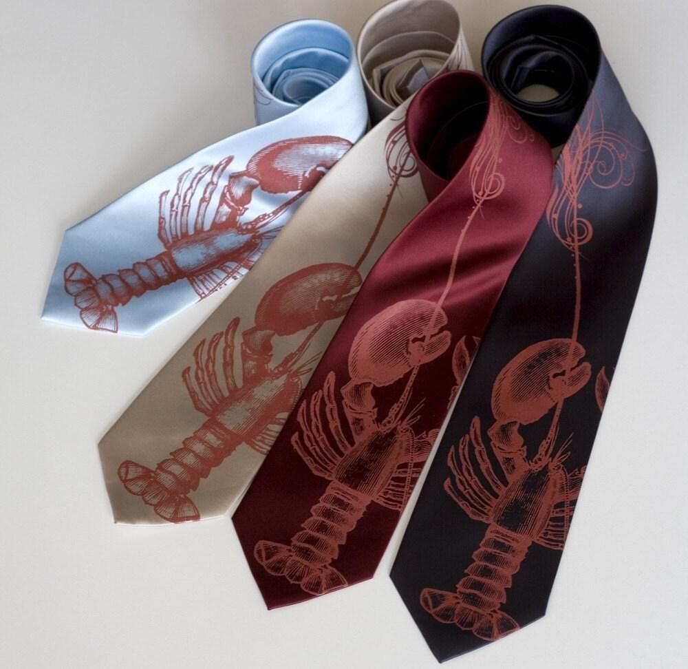 Lobster necktie. Silk Fancy Lobster Bib silkscreened men's