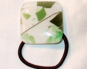 Glass Ponytail Holder,Green and White Fused Glass, Handmade Hair Accessories
