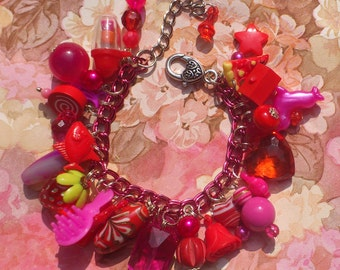 Chunky Charm Bracelet in Red and Pink - Kitsch colourful beads, toys & trinkets gumball bracelet - hot pink magenta fuchsia scarlet crimson