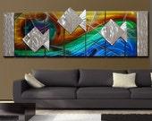 Abstract Metal Wall Sculpture - Nautical Colorful Ocean Inspired Metal Wall Art- Metal Painting - 3D Accent - Artwork -Fantasea by Jon Allen