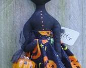 Halloween Art Doll Cat Primitive Folk Art Kitty