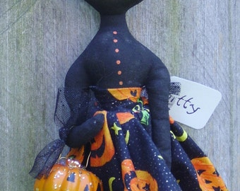Halloween Art Doll Cat Primitive Folk Art Kitty