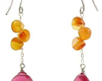 Birdhouse Jewelry - Carnelian and Strawberry Quartz Earrings