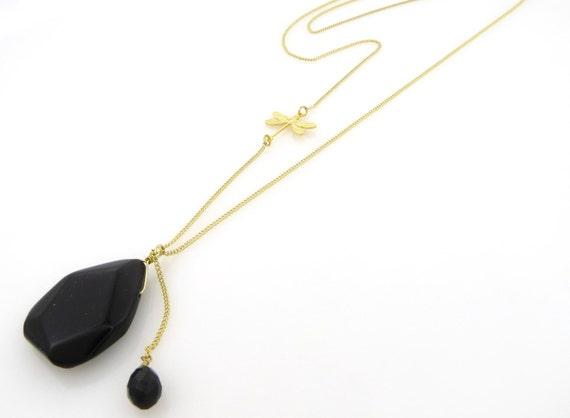 Birdhouse Jewelry  - Mini Me Gold Necklace - Black Onyx