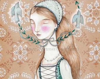 "Folk bird girl art print, ""The Sacred Circle"""