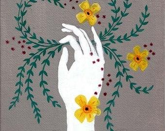 "Victorian folk hand art print ""Ghost Flower"""