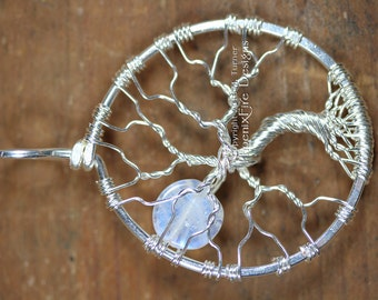 Full Moon Tree of Life Pendant Rainbow Moonstone Sterling Silver Wire Wrapped Jewelry Mini Miniature Affordable Luxury Phoenix Fire Designs