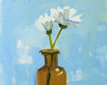 Side by Side - 5 x 5 Inch Original Oil Painting of White Flowers in a Bottle - Kitchen Decor - Wall Decor - Powder Room Decor