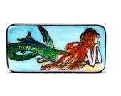 thoughtful mermaid domino magnet