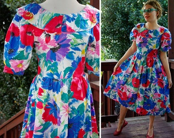 Spring FLING 1980's 90's Vintage Bright Colorful Red + Blue FLORAL Dress // by You Babes // size Small Med