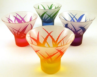 Wild Agave - Stemless Cocktail Glasses - Frosted Style - Etched and Painted Glassware - Custom Made to Order