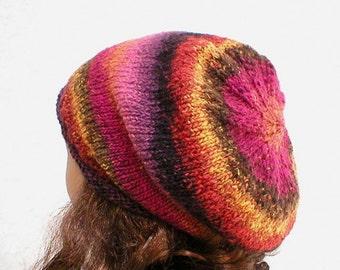 Slouchy hat, plum raspberry black orange gold brown tweed, striped hat, rolled brim hat, womens hat, gamer, skateboard, ski snowboard, hiker