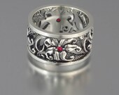 FLORAL Art Nouveau inspired silver band with Ruby accents