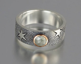 MOONSTRUCK mens wedding band silver and 14k gold 0.4ct rosecut Diamond unisex ring