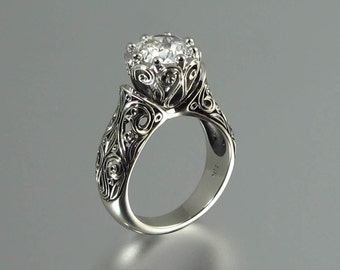 Engagement ring The ENCHANTED PRINCESS 14K gold with 2ct White Sapphire