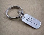 Sherlock Keychain - 221B Baker St., 221B Baker Street - Sherlock and Watson Address - Gift for Him - Sherlock Holmes and John Watson Keyring