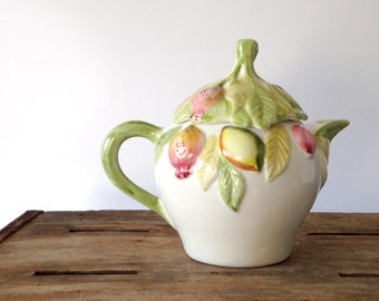 vintage Tea Pot / Hand Painted made in Portugal / Pears Plums Apples Fruit Leaves / Figural / Pink Green Cream