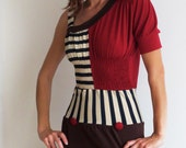Dress Spicy Toast one shoulder red brown striped smocked cupcake outfit retro
