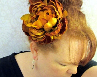 Golden Wheat Peony Hair Flower Clip
