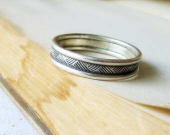 Crosshatch Mens Unique Wedding Band Wedding Ring Sterling Silver