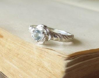 Flower Engagement Ring 4mm White Topaz Gemstone Ring Sterling Silver Sweetest Promise Ring