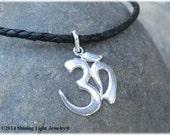 Large Flat Sterling Om Pendant - Men's Silver Om Necklace