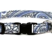 Fancy Cat Collar - Vintage Blue Paisley - Breakaway Safety Cute Fancy Cat Kitten Collar