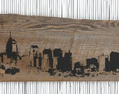 "Philadelphia Skyline Wall Hanging on Reclaimed Barn Wood - 7""x18"""
