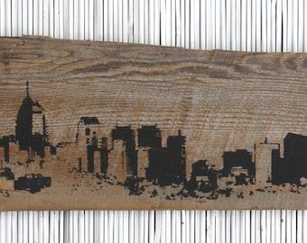 "Philadelphia Skyline Wall Hanging on Reclaimed Barn Wood - 7""x18"""