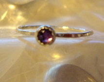 Alexandrite Ring - The Seer - blue to purple rose  in  reclaimed recycled .925 sterling silver  - custom size faceted reverse cut