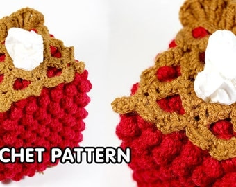 PDF Crochet Pattern - Cherry Pie Tissue Box Cozy