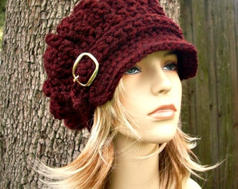 Crochet Hat Womens Hat Newsboy Hat - Oversized Monarch Ribbed Crochet Newsboy Hat in Oxblood Wine Burgundy Crochet Hat - READY TO SHIP