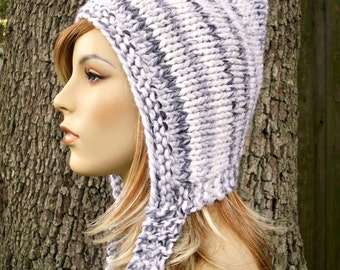 Knit Hat Womens Hat - Pixie Hat in White Marble Knit Hat White Hat White Pixie Hat Womens Accessories - READY TO SHIP