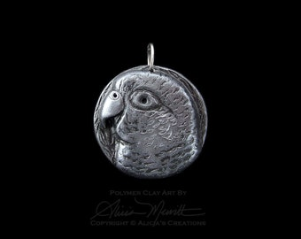 Unique Silver Pewter Conure Medallion Clay Bird Art Parrot Pendant Faux Metal (no chain or cord)