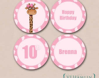 Pink Giraffe Party, Cupcake Toppers, Printable Party Circles, Giraffe Labels, Personalized