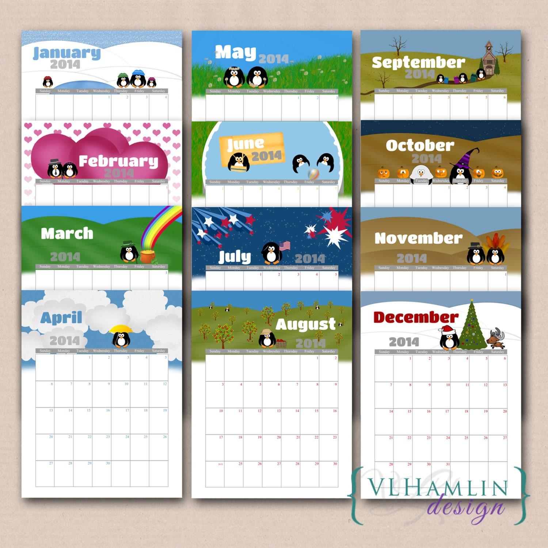 Cute 2014 Yearly Printable Calendar Printable calendar, 2014