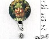 Vertumnus Giuseppe Arcimboldo Badge Reel Belt clip or Swivel Clip Employee Id card