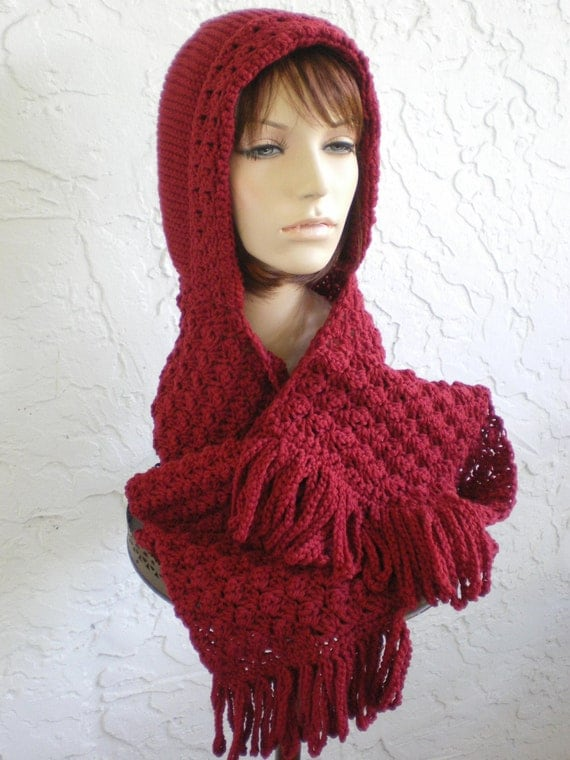 Knitting Pattern For Hat With Scarf Attached : hand knit hood scarf hat crochet scarf womens accessories