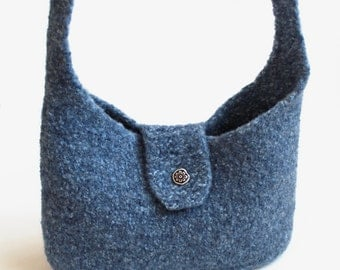 Felted Tablet Pouch. Unlined Cross Body Shoulder Bag. Blue Tweed Kindle Sleeve. Merino Wool iPad Pouch. Over Shoulder Felted Knit Purse
