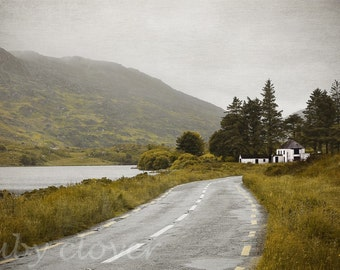 Foggy Day, Misty Mountains, Co. KERRY, Winding Country Road, IRELAND Photography, Old Derelict Irish Pub, Desaturated Landscape Photography