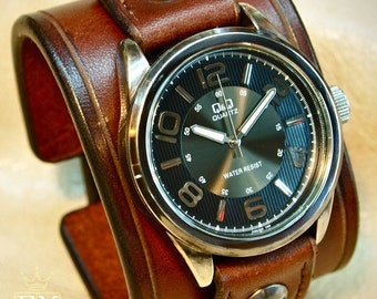 Leather cuff Watch Vintage Brown bridle leather wristband watchband, wrist watch made for YOU in NYC by Freddie Matara