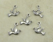 5 Tierracast Peace Dove Bird Charms > Olive Branch Peaceful Dove - Silver plated Lead Free Pewter - I ship Internationally 2375
