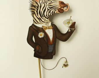 Fun Zebra art gift for birthdays & cocktail lovers. Unique mechanical paper puppet, paper puppet with martini that moves.