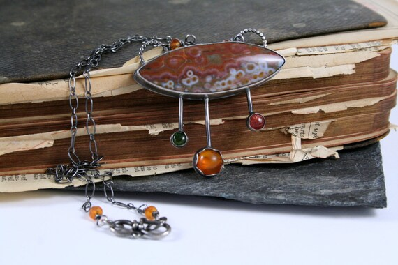 Ocean Jasper, Amber, Jade, Sunstone Sterling Silver Statement Necklace - Glow